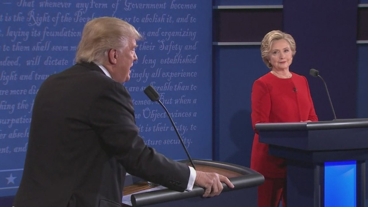 Donald Trump and Hillary Clinton during a debate-846655081