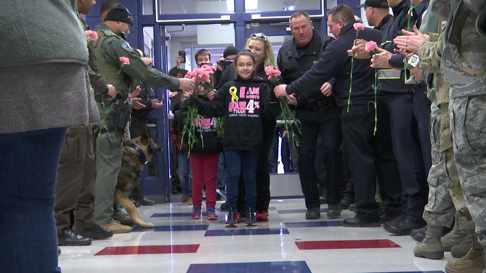 Ciara Husing returns to school after defeating cancer.