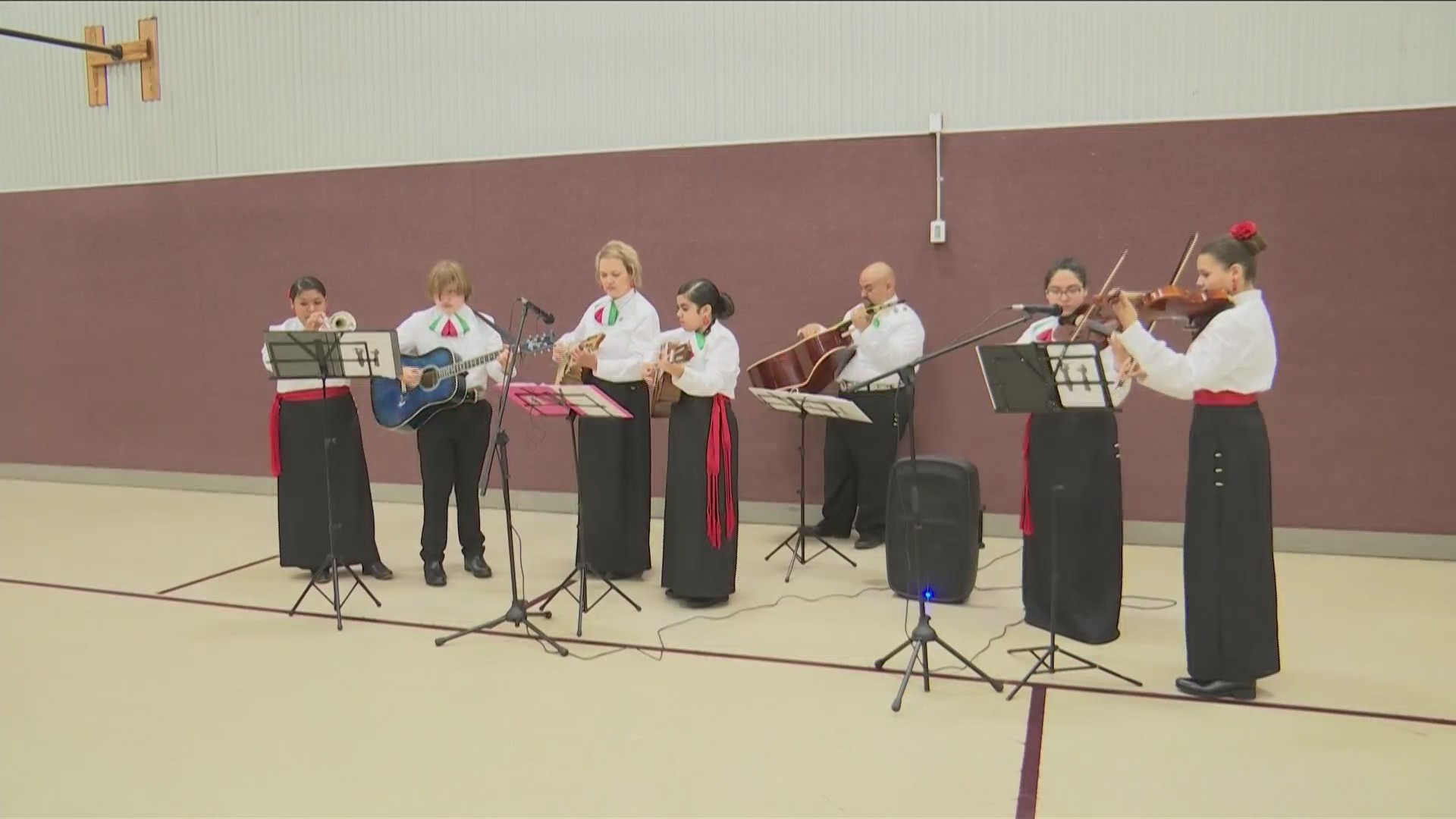 Middle school and high school students form Mariachi band