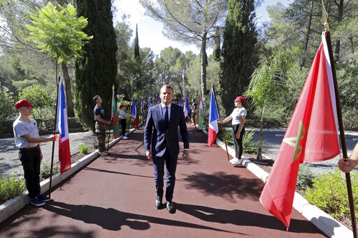 Soldiers stand guard as they wait for French President Emmanuel Macron during a ceremony marking the 75th anniversary of the Allied landings in Provence in World War Two which helped liberate southern France, in Boulouris