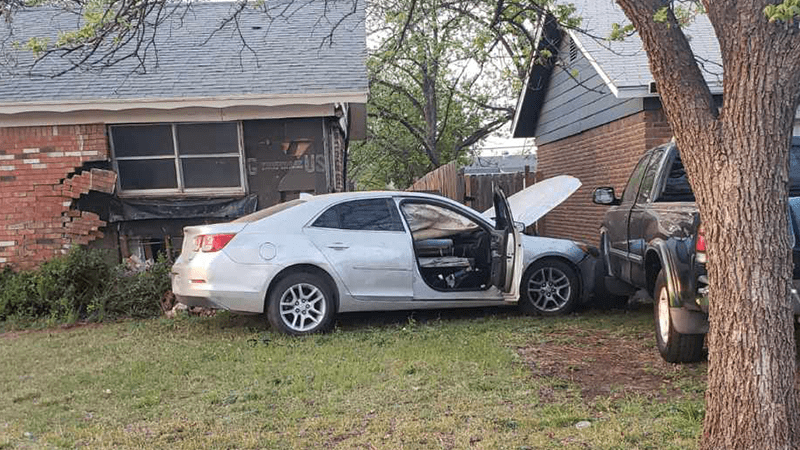 Abilene man was arrested after driving a stolen car into a house